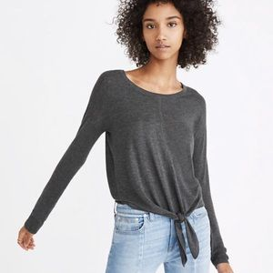 Madewell Modern Tie-Front Gray Sweater